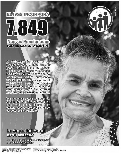 : Listado de Nuevos Pensionados Amor Mayor 20 de Enero del 2012