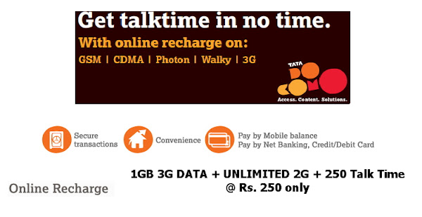 Free Get 1GB 3G DATA from Tata Docomo