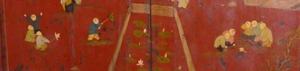 Illustration : Les enfants jouent (détail d'une peinture sur une armoire)