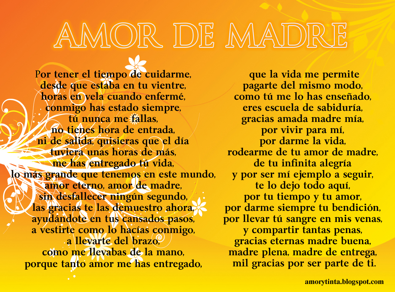 Gracias Madre Poemas Amor Y Tinta Imágenes Con Poemas Para El Día De La Madre