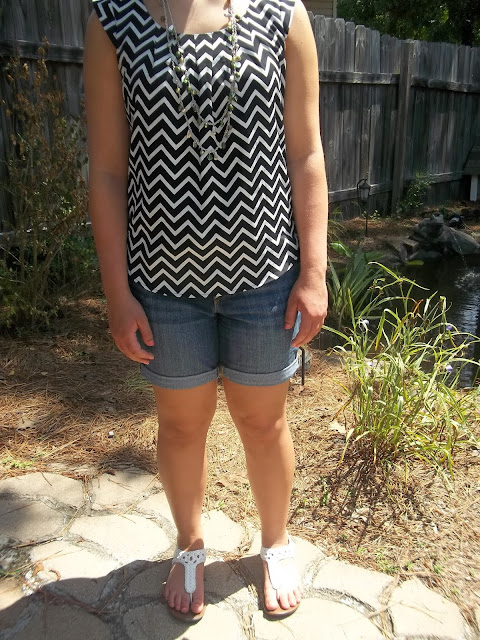 chevron green top necklace white sandals outfit casual boyfriend jeans shorts