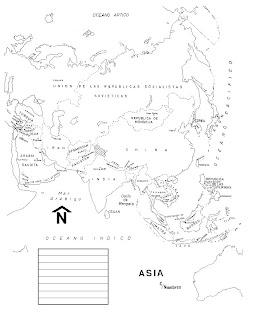 Mapa de asia con nombres para imprimir