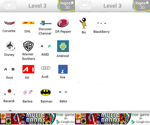 Logo Quiz Level 3 pack contains 50 logos. The answers to all of them