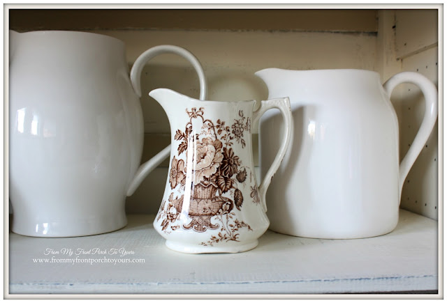 Brown Transferware Pitcher- Vintage Pie Safe-From My Front Porch To Yours