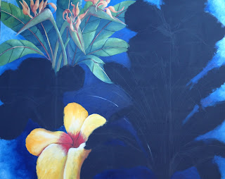 Detail of Hibiscus Flowers and Birds of Parasdise painting by Pamela Hunt Lee