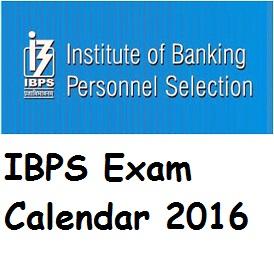 IBPS 2016 Exam Calendar Released
