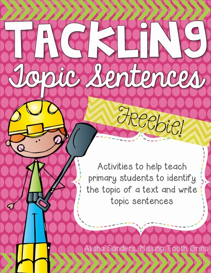 https://www.teacherspayteachers.com/Product/Tackling-Topic-Sentences-FREEBIE-1736981