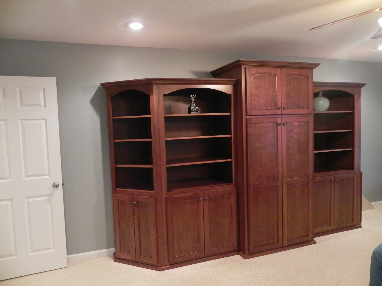 Cherry Bookcases And Alder Wood Kitchen Cabinets