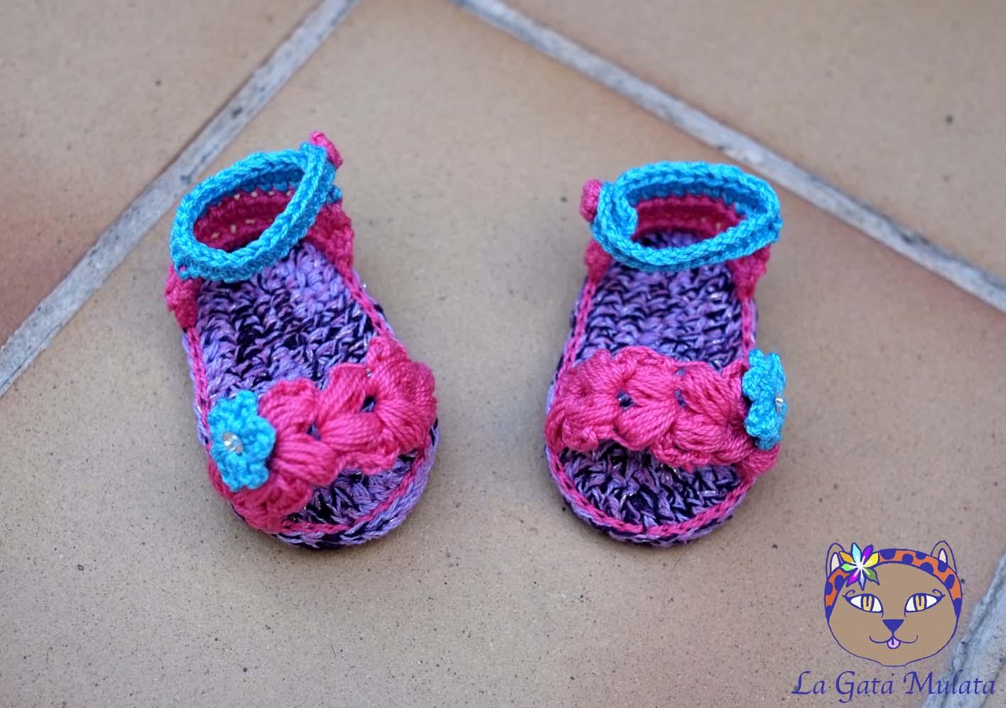 La Gata Mulata: Sandalias de bebé a ganchillo