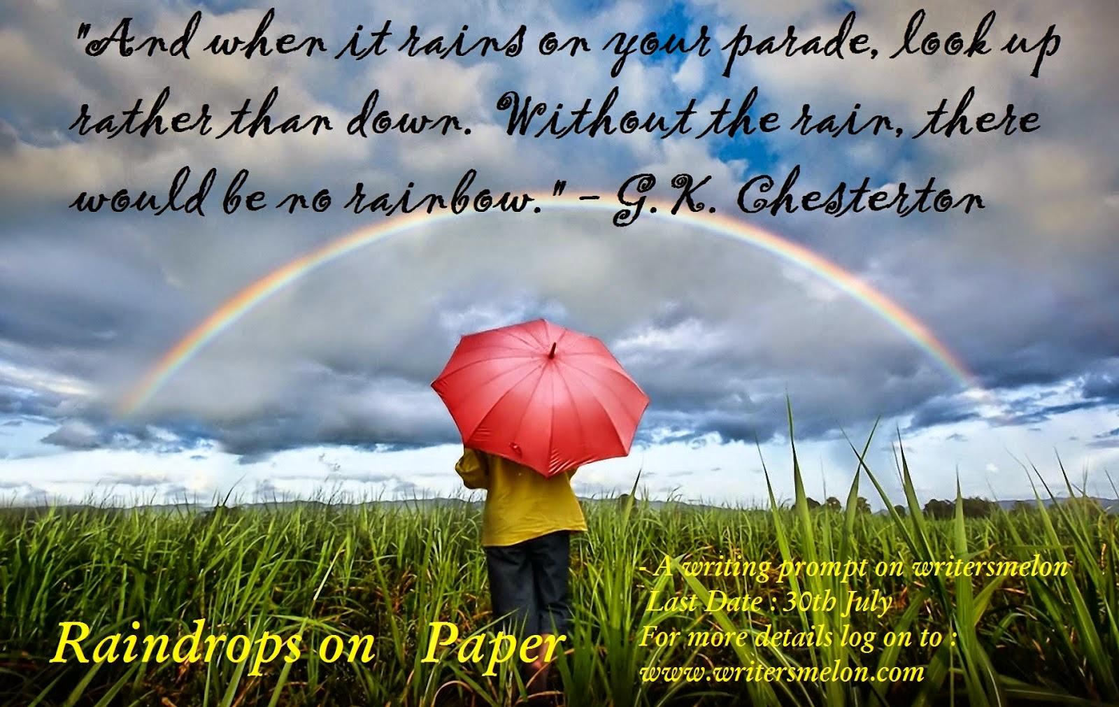 Writing Prompt : #Raindropsonpaper