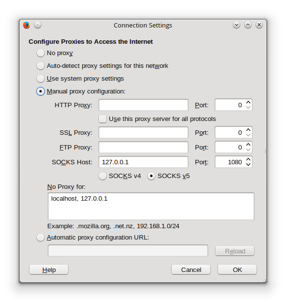 setting proxy ssh pada browser firefox