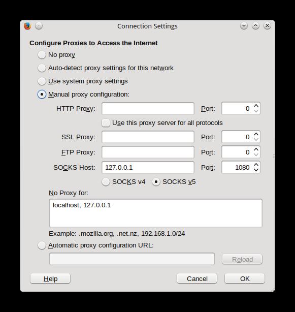setting proxy ssh pada browser firefox