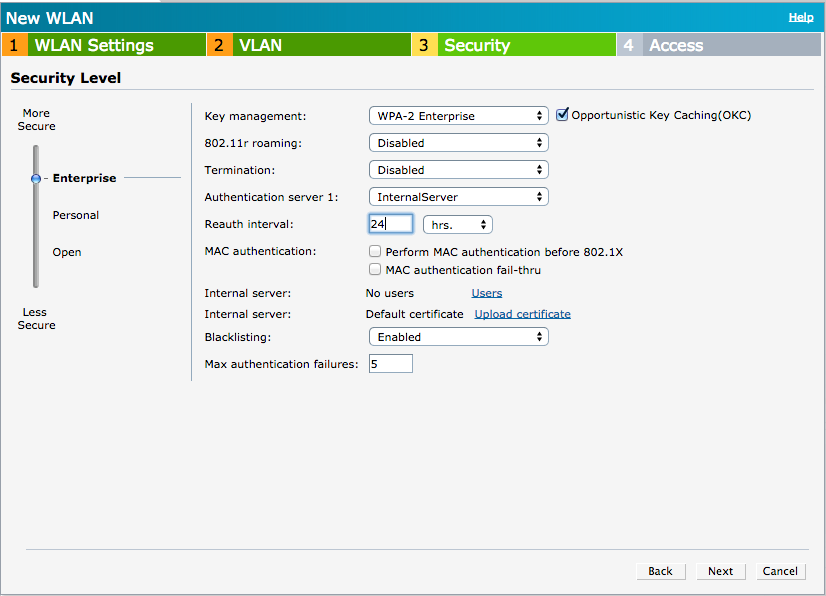 Aruba IAP WLAN Security Setup