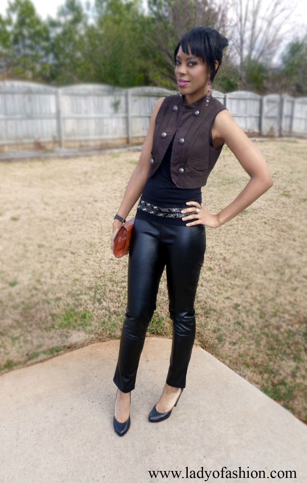 Style Blogger Wearing leather trousers