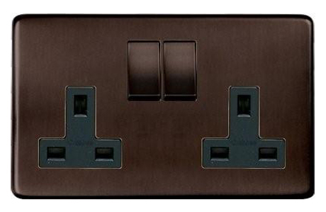Heritage Brass screwless 13 Amp 2 Gang Switched Socket in bronze