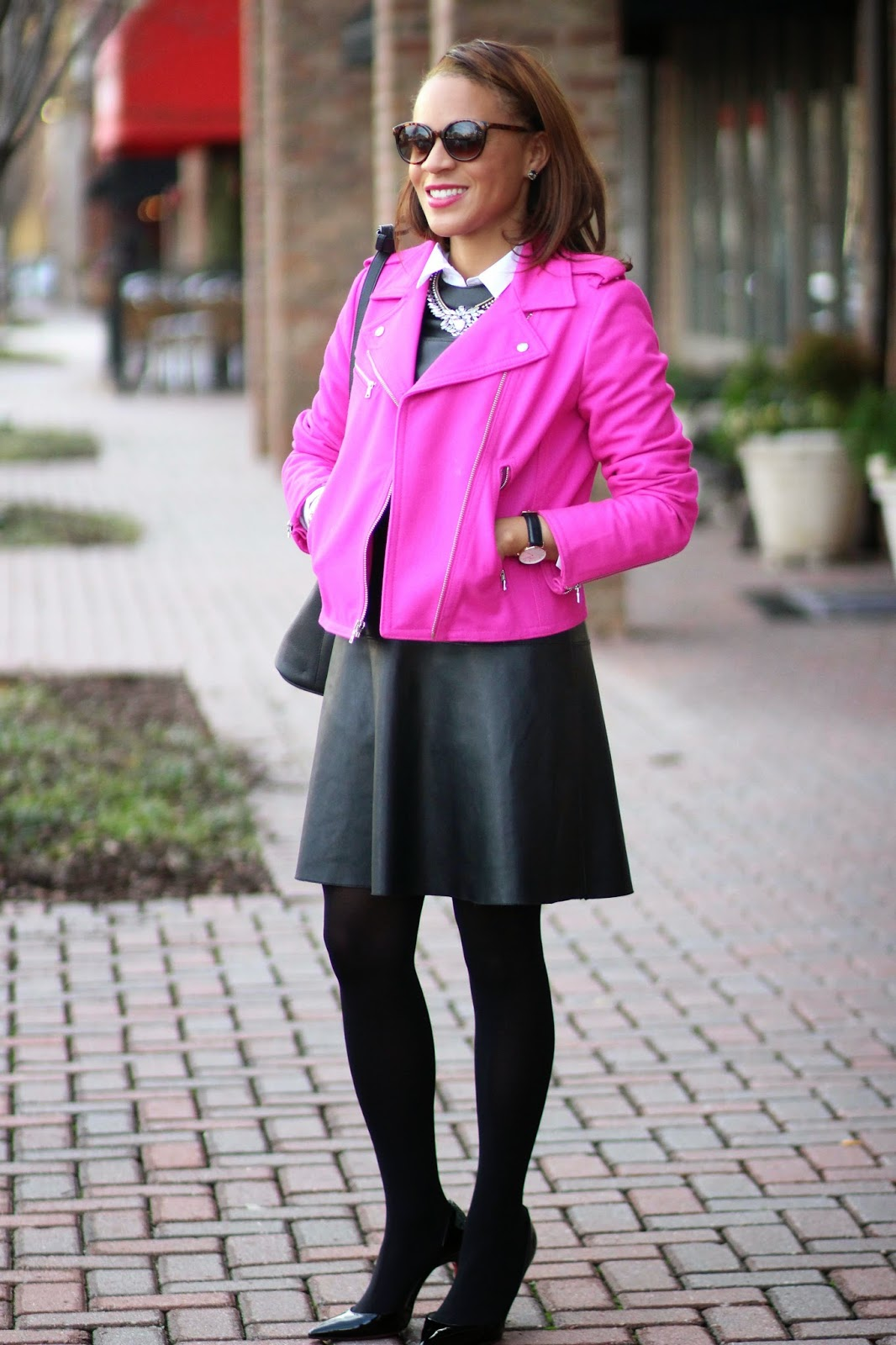 Nicole-to-the-Nines-pink-moto-jacket
