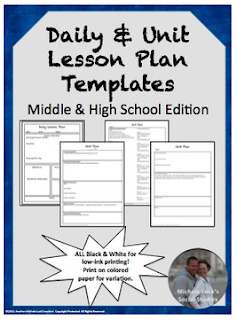 https://www.teacherspayteachers.com/Product/Lesson-Unit-Plan-Templates-for-Middle-or-High-School-15704