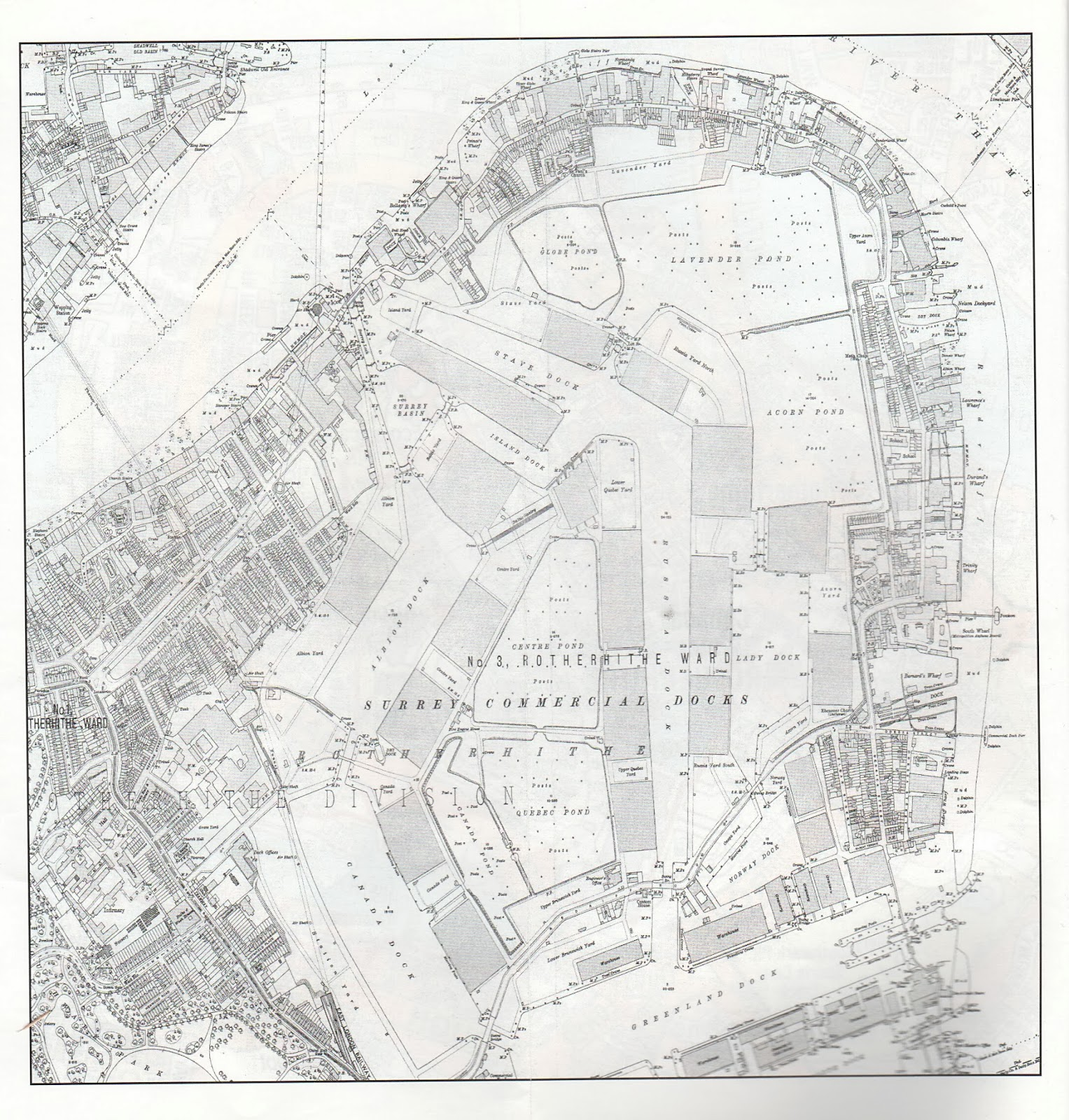 London 1888 map 26 Deptford Surrey Docks