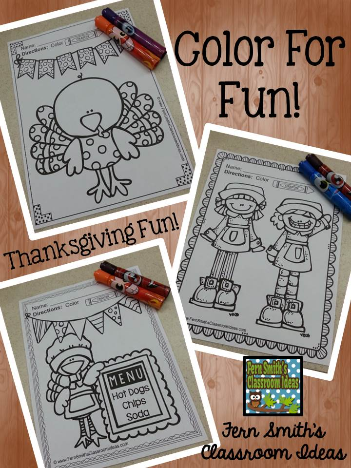 Fern Smith's Classroom Ideas Thanksgiving Color For Fun Printable Freebie