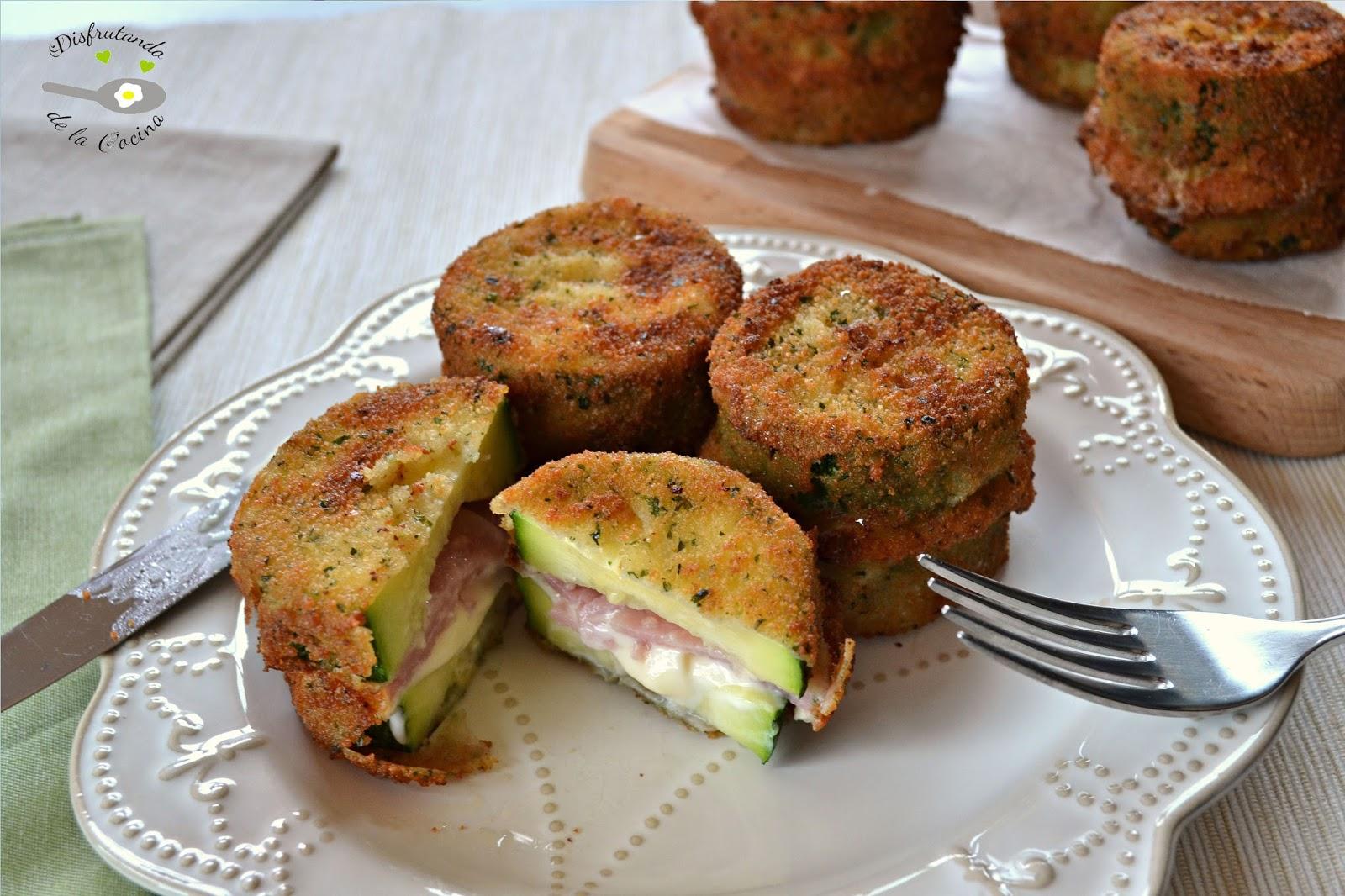 Bocaditos de calabac n con jam n y queso disfrutando de for Canape de jamon y queso
