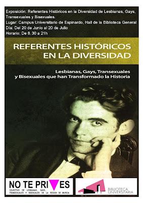 """cartel de la exposición: """"Referentes históricos en la diversidad de lesbianas, gays, transexuales y bisexuales."""