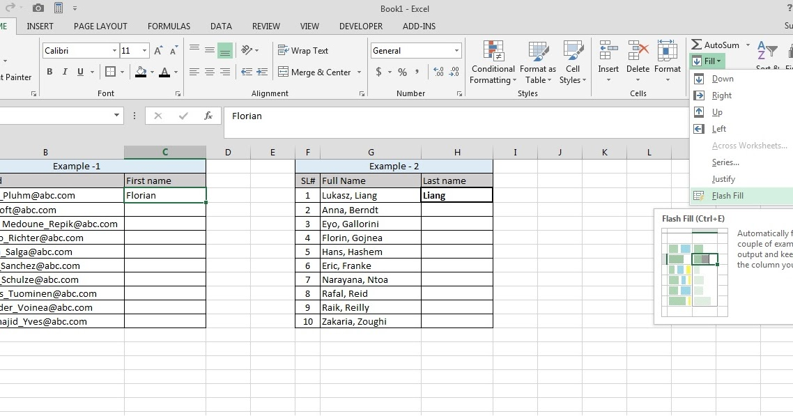 Excel Tips and Tricks: Flash fill - Excel 2013