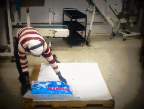 Image of guy putting large bags of ice on pallet.