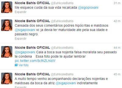 """Nicole Bahls discute com Luana Piovani: """"cala a boca, sua nojenta"""""""
