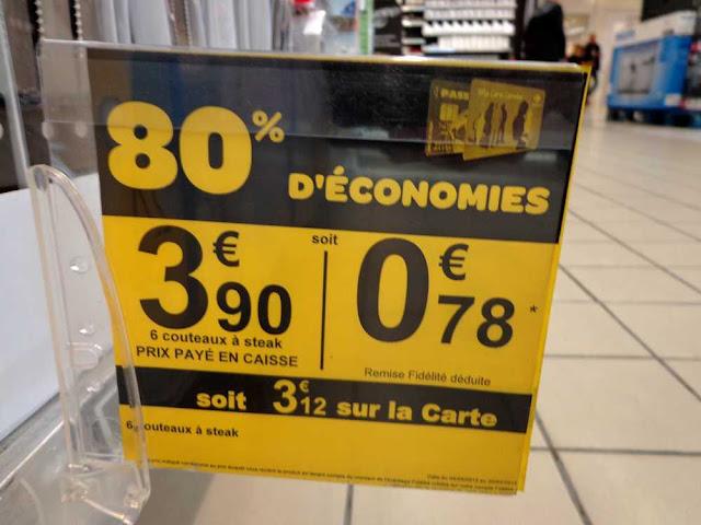 Carrefour: 6 couteaux à steak à 0.78€ !