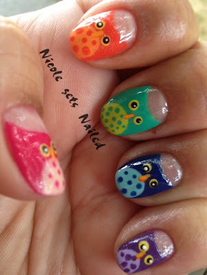 Rainbow Owls Nail Art