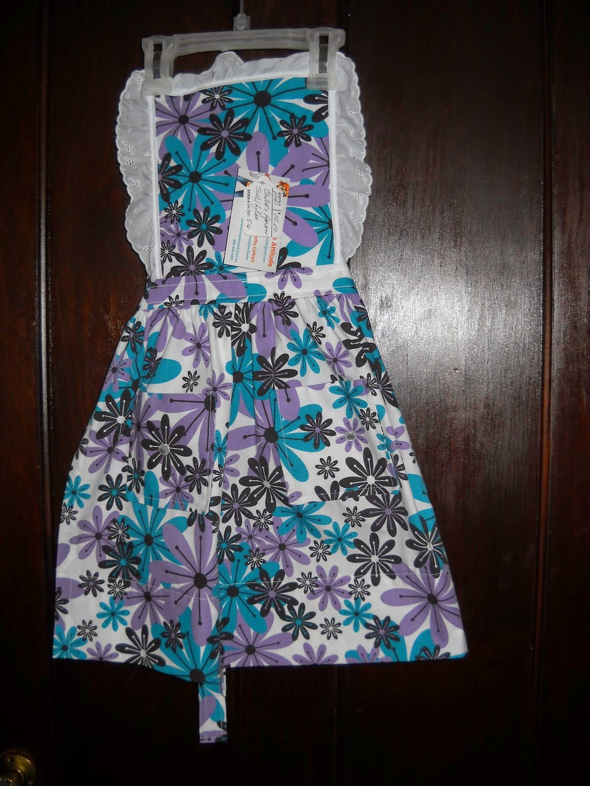 Teal and Purple Daisies Apron