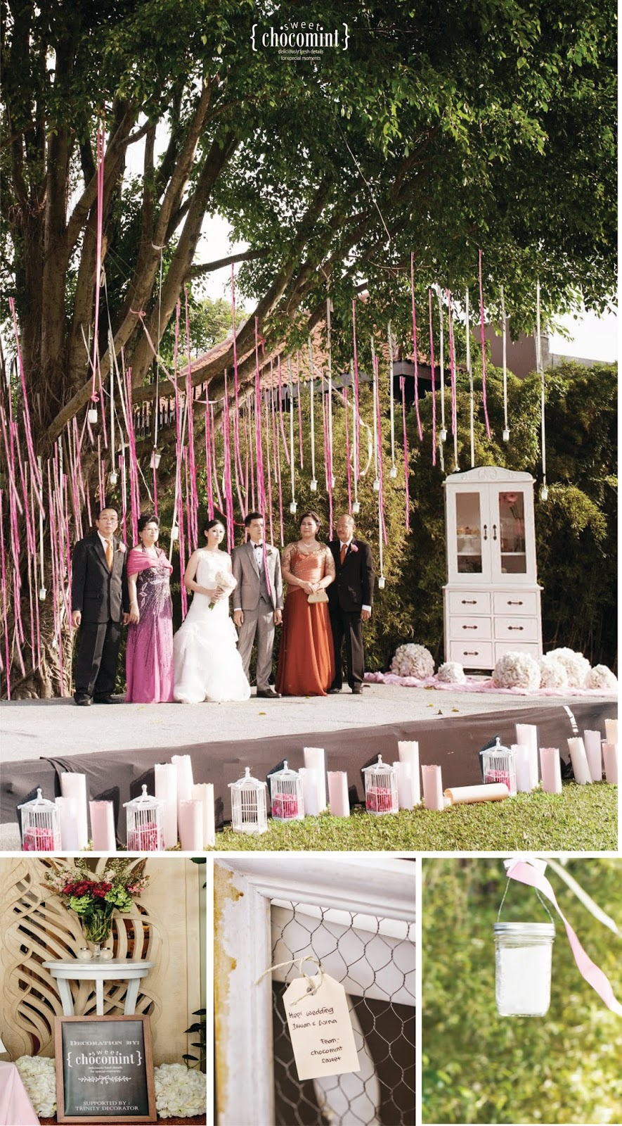 Sweet Chocomint Pink Ombre Garden Wedding
