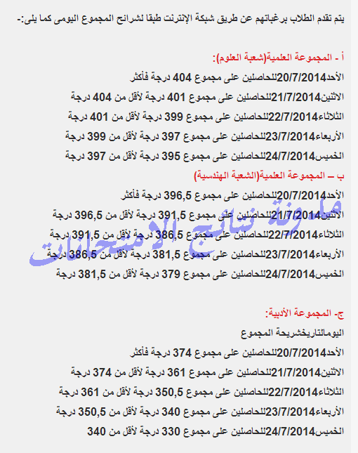 مواعيد تسجيل رغبات المرحله الاولى للثانويه العامه 2014 على حسب المجموع