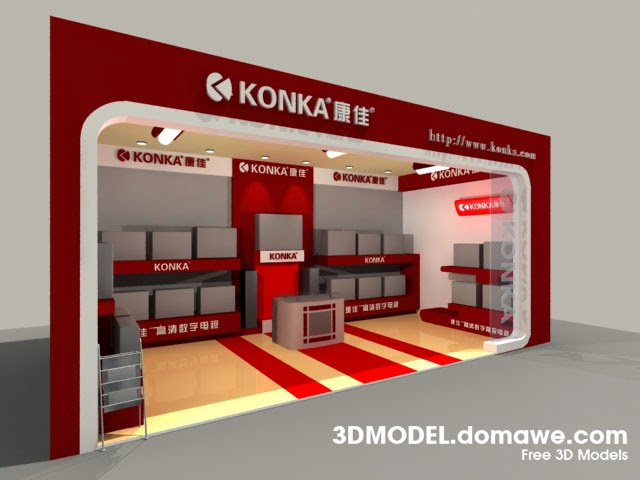 Exhibition Booth D Model Free Download : Domawe display booth d model free download