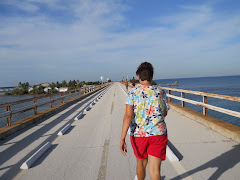 Sharon from STEVADORE inspiring me to walk. Seven Mile Bridge--the old one.