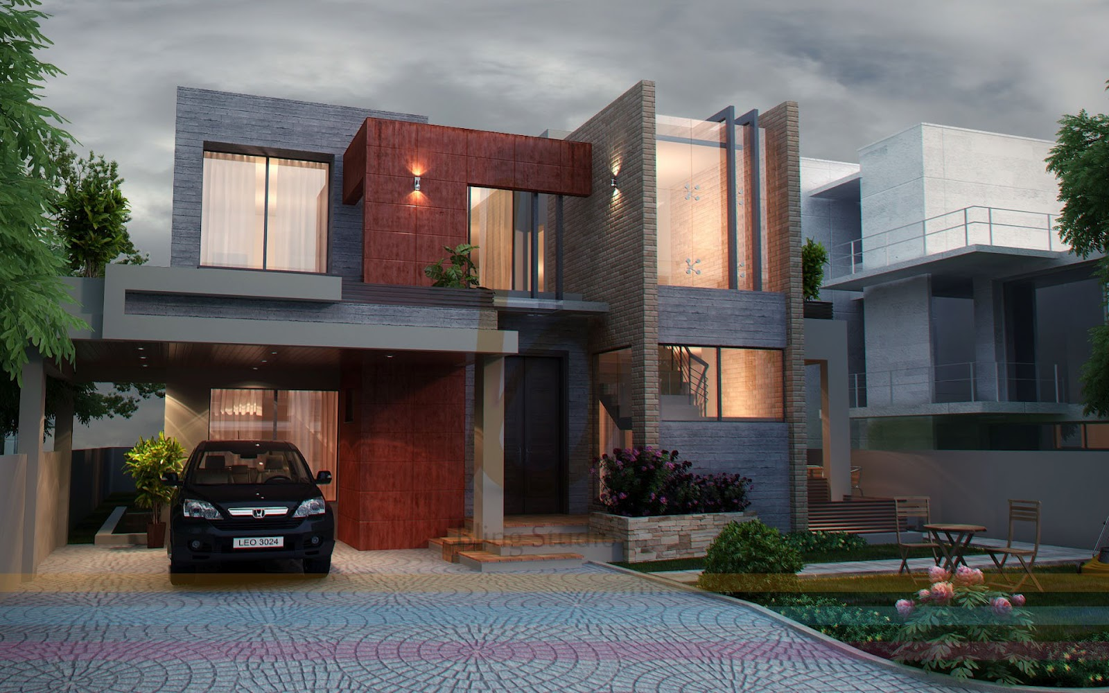 3d front dha lahore 1 kanal modern contemporary house design 3d front elevatin - D home design front elevation ...