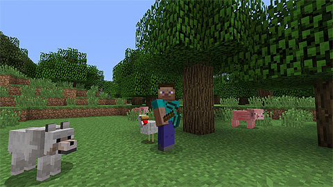 Minecraft: Blocky Steve with pick-axe in a small wooded area surrounded by a wolf, sheep and pig.