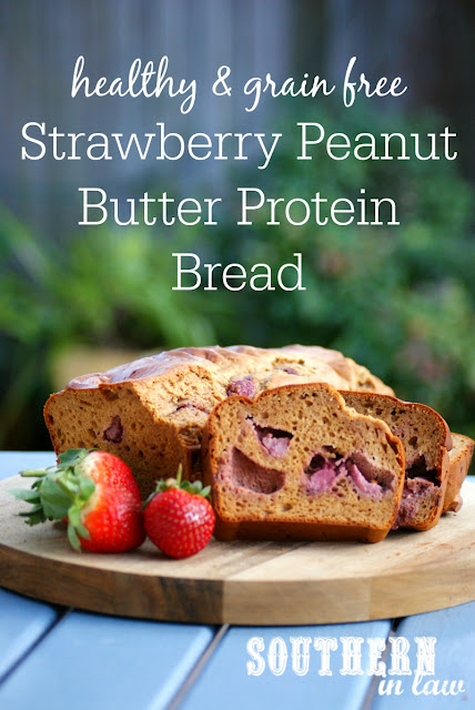 Healthy Strawberry & Peanut Butter Protein Bread Recipe  high protein, low fat, low carb, gluten free, clean eating friendly, grain free, low fat, gluten free, peanut flour recipes, protein muffins
