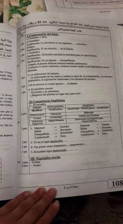 تصحيح موضوع اللغة الاسبانية شعبة لغات أجنبية بكالوريا 2015