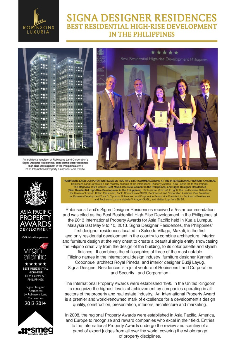 Robinsons land premier properties in the philippines news and updates signa designer residences Robinson s home furniture philippines