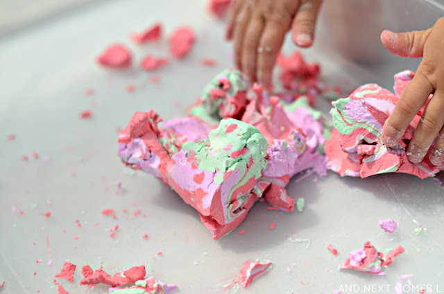 Sensory play idea for kids: soap foam dough recipe from And Next Comes L