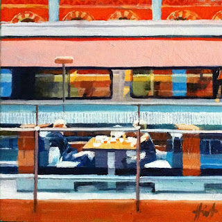 Lunch at St.Pancras Station by Liza Hirst