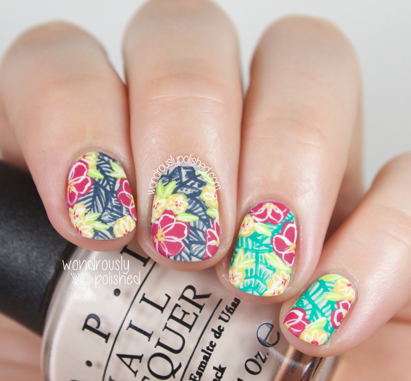 Wondrously Polished: A Day in the Tropics - Tropical Floral Nail Art