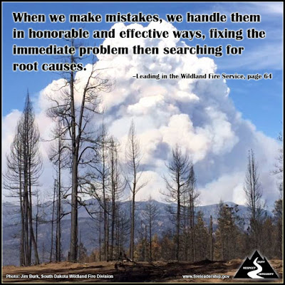 When we make mistakes, we handle them in honorable and effective ways, fixing the immediate problem then searching for root causes.  –Leading in the Wildland Fire Service, page 64