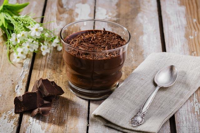 Mousse de chocolate en el microondas