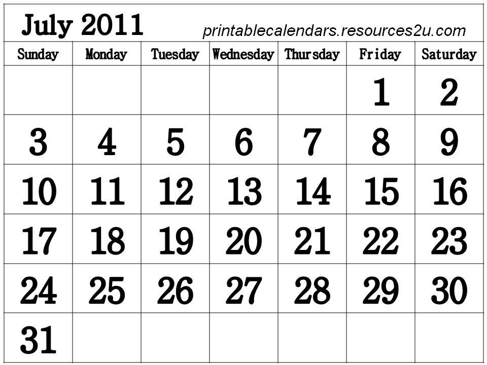 Free Homemade Calendar 2011