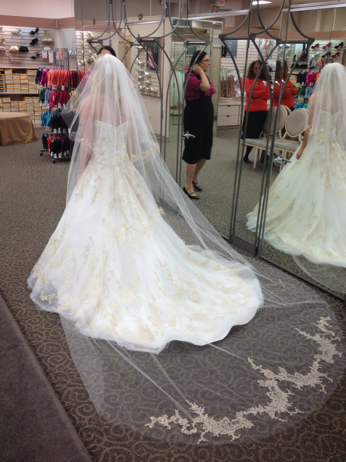 shopping for a wedding dress at David's bridal