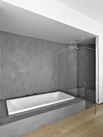 Salle de bain réalisé en béton ciré selon les produits d'harmony béton.