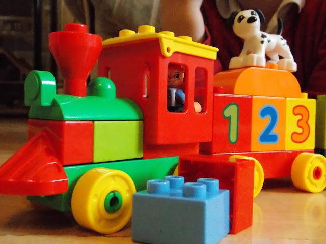 lego duplo train bright coloured bricks