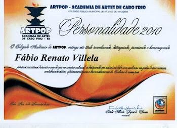 """Premio """"Personalidade do Ano 2010, na área de Produção Literária"""""""